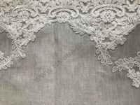 Leinen Tischdecke mit Spitze grau- 150x250 cm