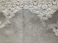 Leinen Tischdecke mit Spitze grau- 150x300 cm