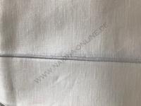 Leinen Tischdecke Ecru mit Silberrand gestickt 150x300 cm