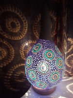 Deckenleuchte Weiß-blau- Kürbislampe