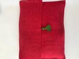 Frottee mit weichnachtsmotiv gestickt in Rotem Tasche